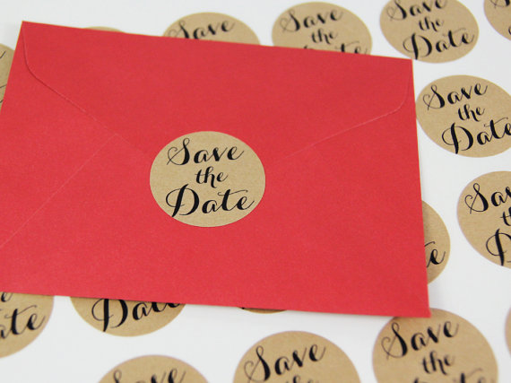 Brown Kraft SAVE THE DATE Stickers