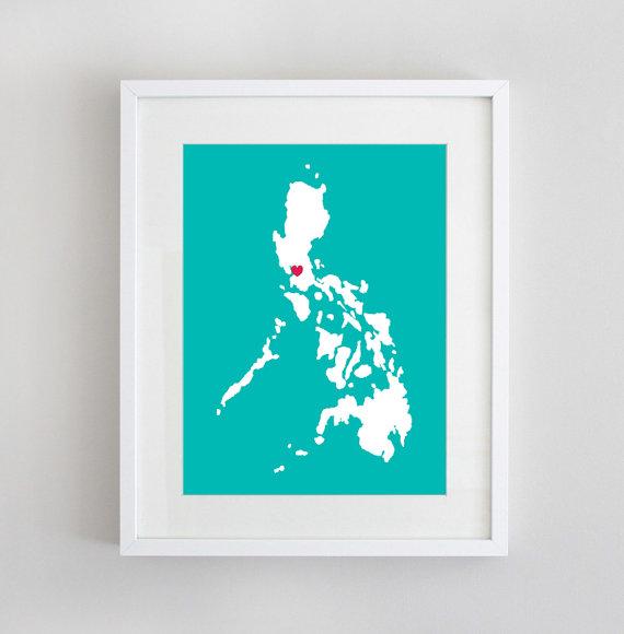 Heart Manila Philippine Map Print