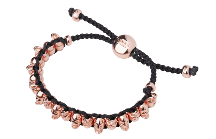 Link of London's Rose Gold Vermeil Skull Friendship Bracelet