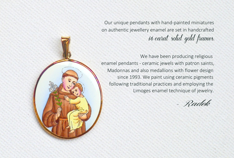 enamel pendants - ceramic jewels with patron saints, Madonnas