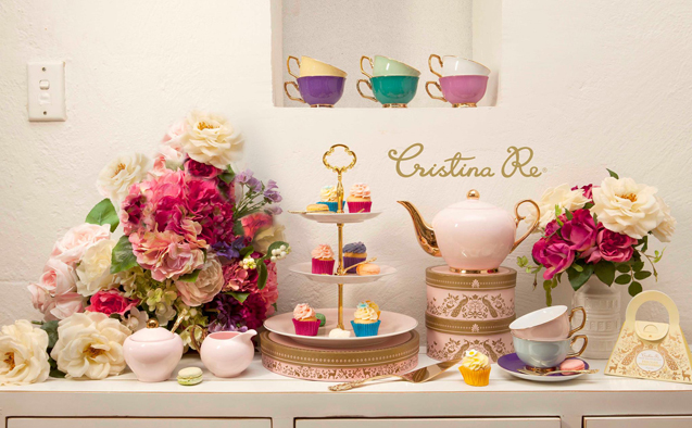 My dream Cristina Re tea party set in hues of black, white, gold and blue.