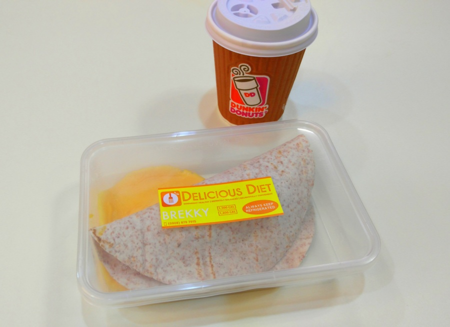 Bangus Breakfast Wrap with my daily dose of black coffee from Dunkin Donuts
