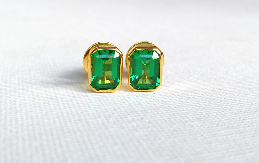 Custom-made Emerald stud earrings (ordered by a client).