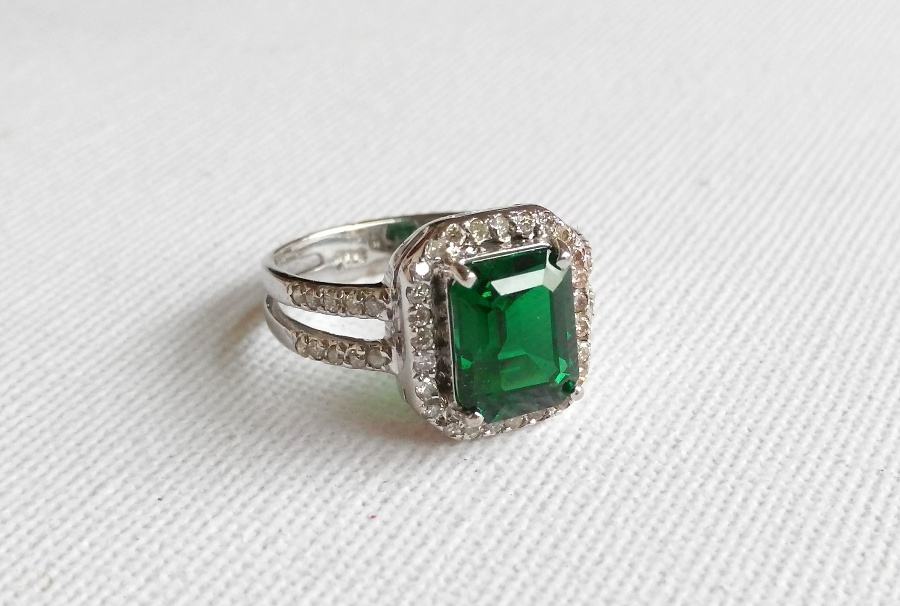 Biron Emerald and Diamonds in 14k WG