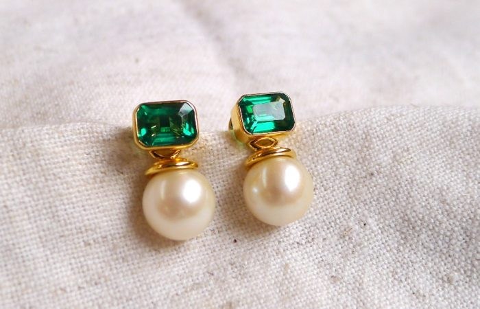 3-Way Emerald and Pearl Earrings