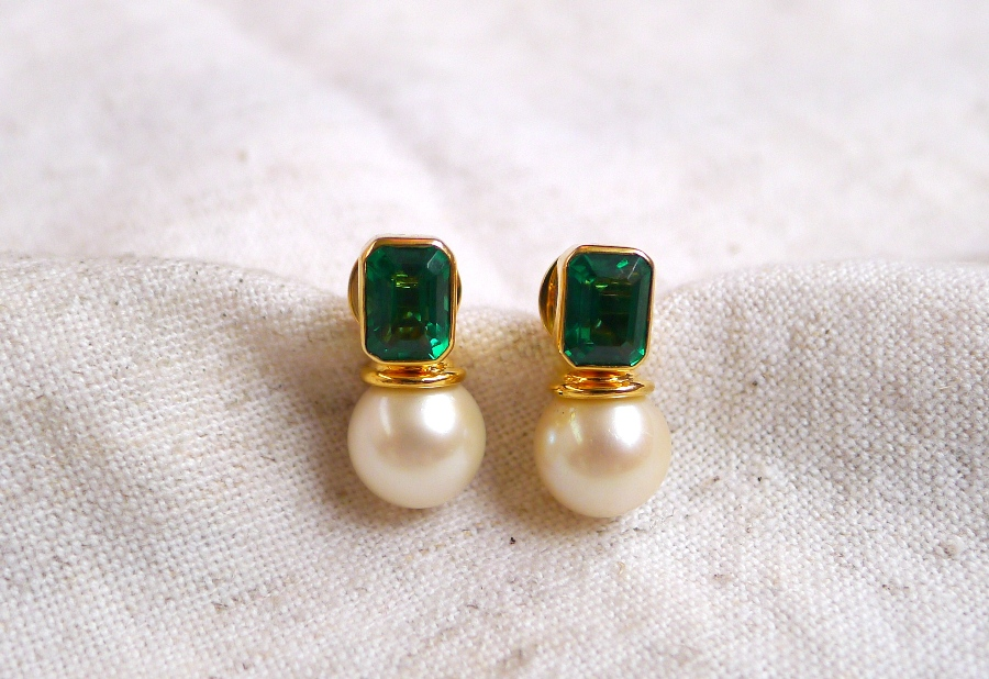 The Earrings Can Be Worn In 3 Ways As Stud Emerald With Pearl Jackets Vertical Position And Again But