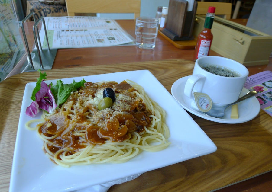 Pasta and coffee for me.